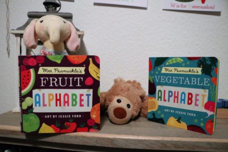 Mrs. Peanuckle's Fruit and Vegetable Board Books on Shiloh's bookcase