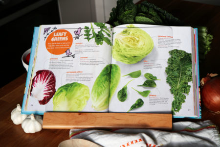 Chef Gino's Taste Test Challenge Cookbook teaches about a variety of leafy greens