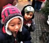 Teddy and Toby drinking Heisse Schokolade