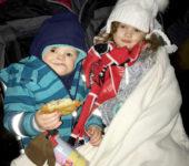 Emilia and Sam eating Kartoffelpuffer